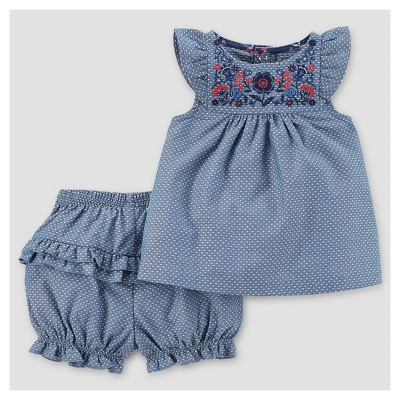 Baby Girls' 2pc Chambray Set - Just One You™ Made by Carter's® Blue NB