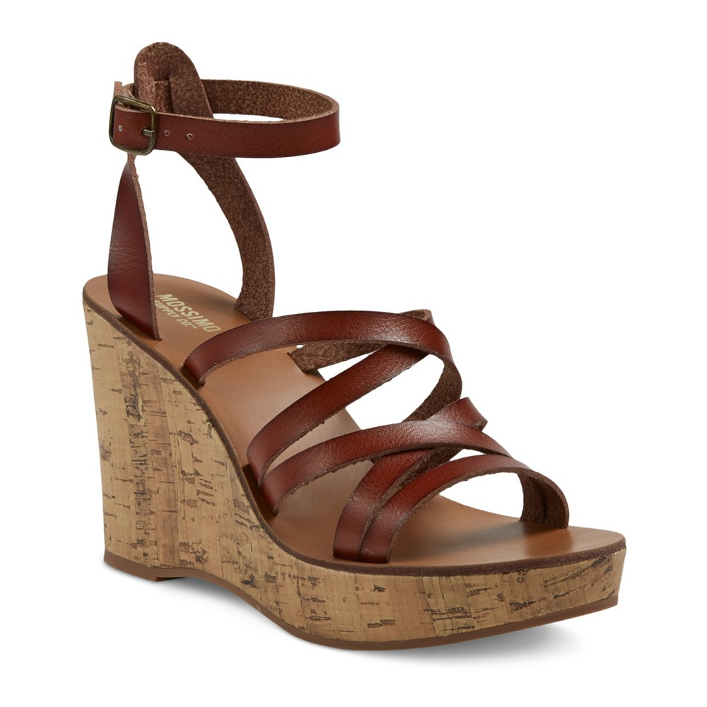 Womens Reese Quarter Strap Cork Wedge Sandals - Mossimo Supply Co. Cognac (Red) 5.5