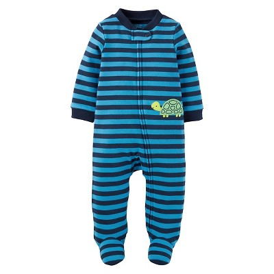 Baby Boys' Turtle Striped Cotton Sleep N'Play - Just One You™ Made by Carter's® Blue NB