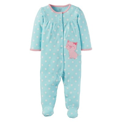 Baby Girls' Polka Dot Cotton Sleep N'Play - Just One You™ Made by Carter's® Pig - Light Blue 3M