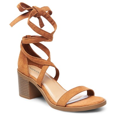 view Women's Matilda Lace Up Heeled Quarter Strap Sandals - Merona on target.com. Opens in a new tab.