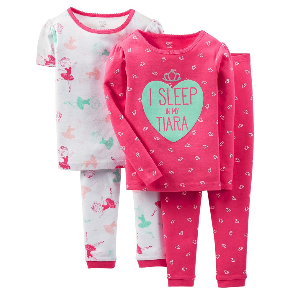 Baby Girls 4pc Tiara Snug Fit Cotton Pajama Set - Just One You Made by Carters Pink 12M