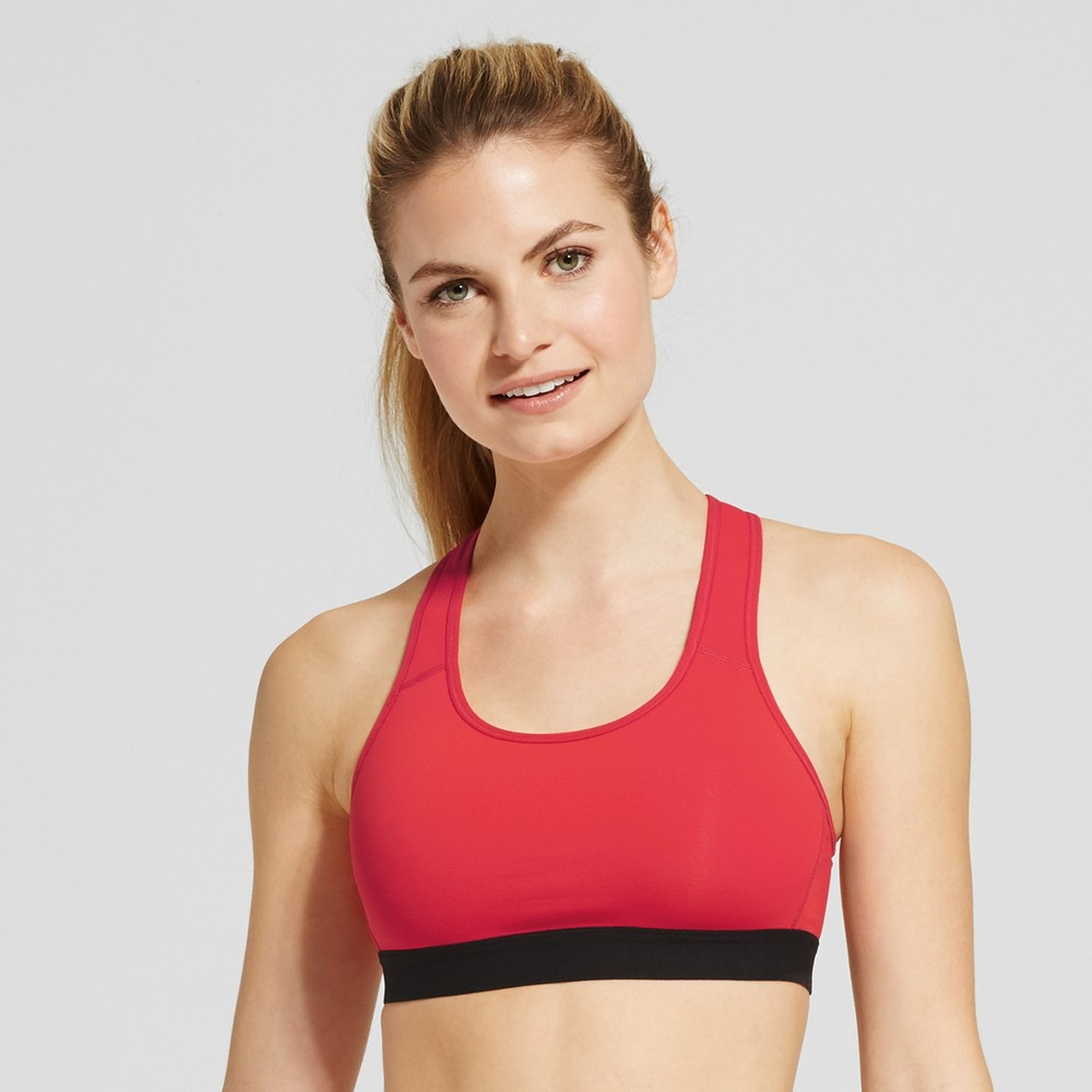 Womens Power Core Compression Racerback Sports Bra - C9 Champion Red Spark L