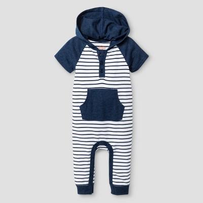 Baby Boys' Hooded Romper - Cat & Jack™ Navy 6-9 Months
