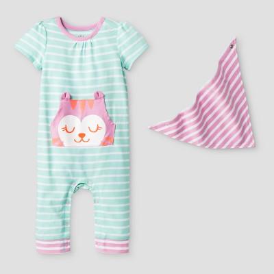 Baby Girls' Critter Romper with Bib - Cat & Jack™ Aqua NB