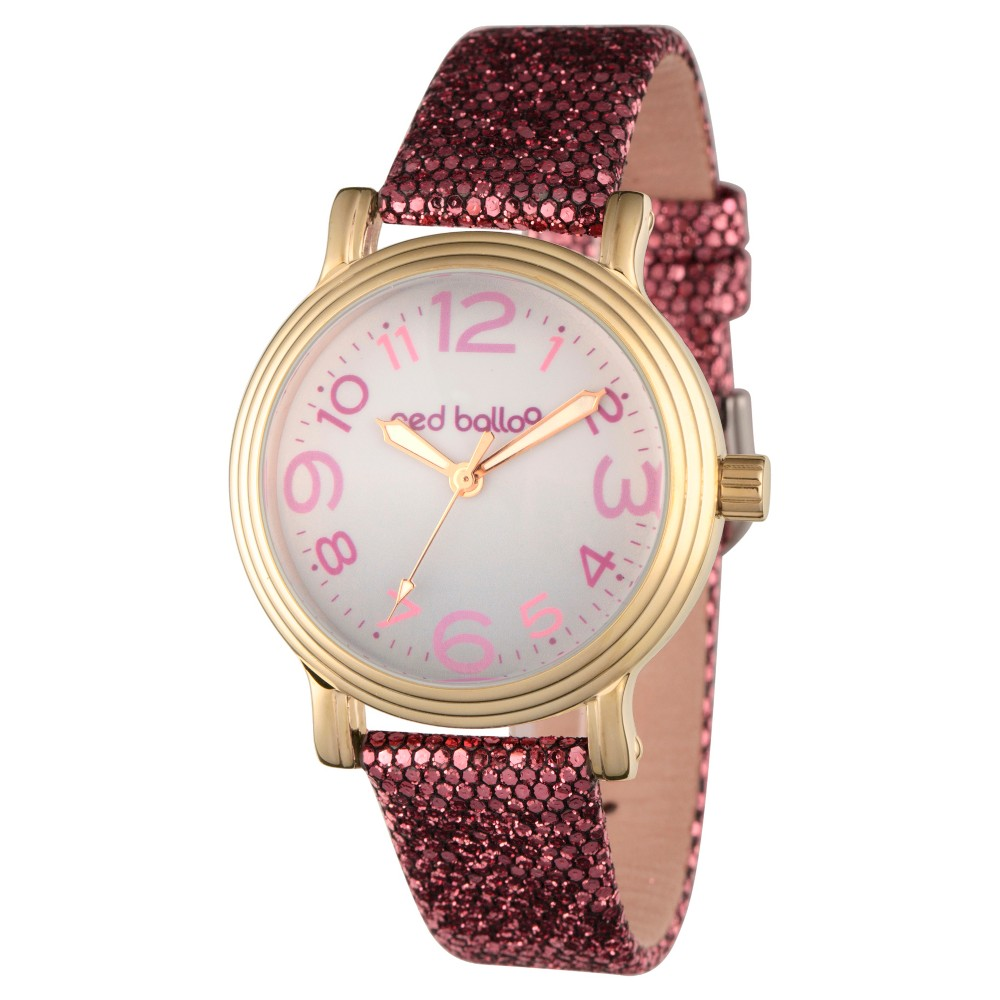 Womens Red Balloon Rose Gold Vintage Alloy Watch - Purple