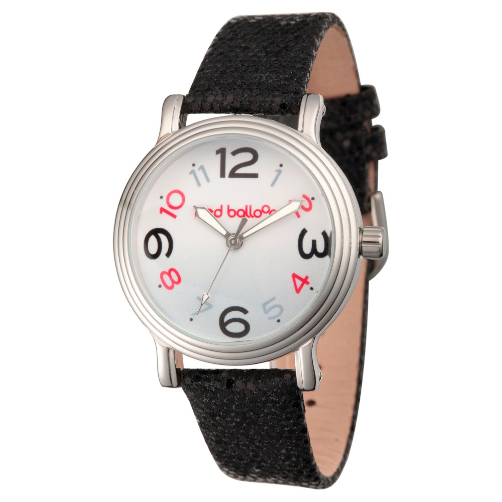 Womens Red Balloon Silver Vintage Alloy Watch - Black