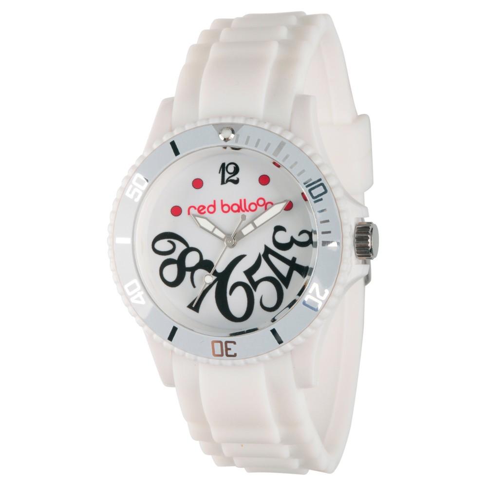 Womens Red Balloon White Plastic Watch - White