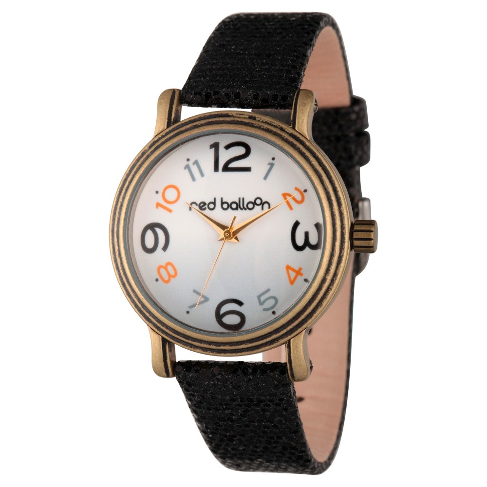 Womens Red Balloon Antique Gold Vintage Alloy Watch - Black