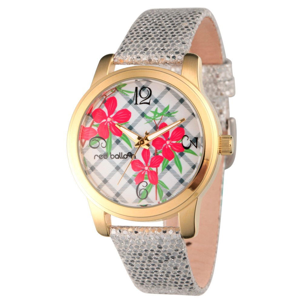 Womens Red Balloon Gold Alloy Watch - Silver