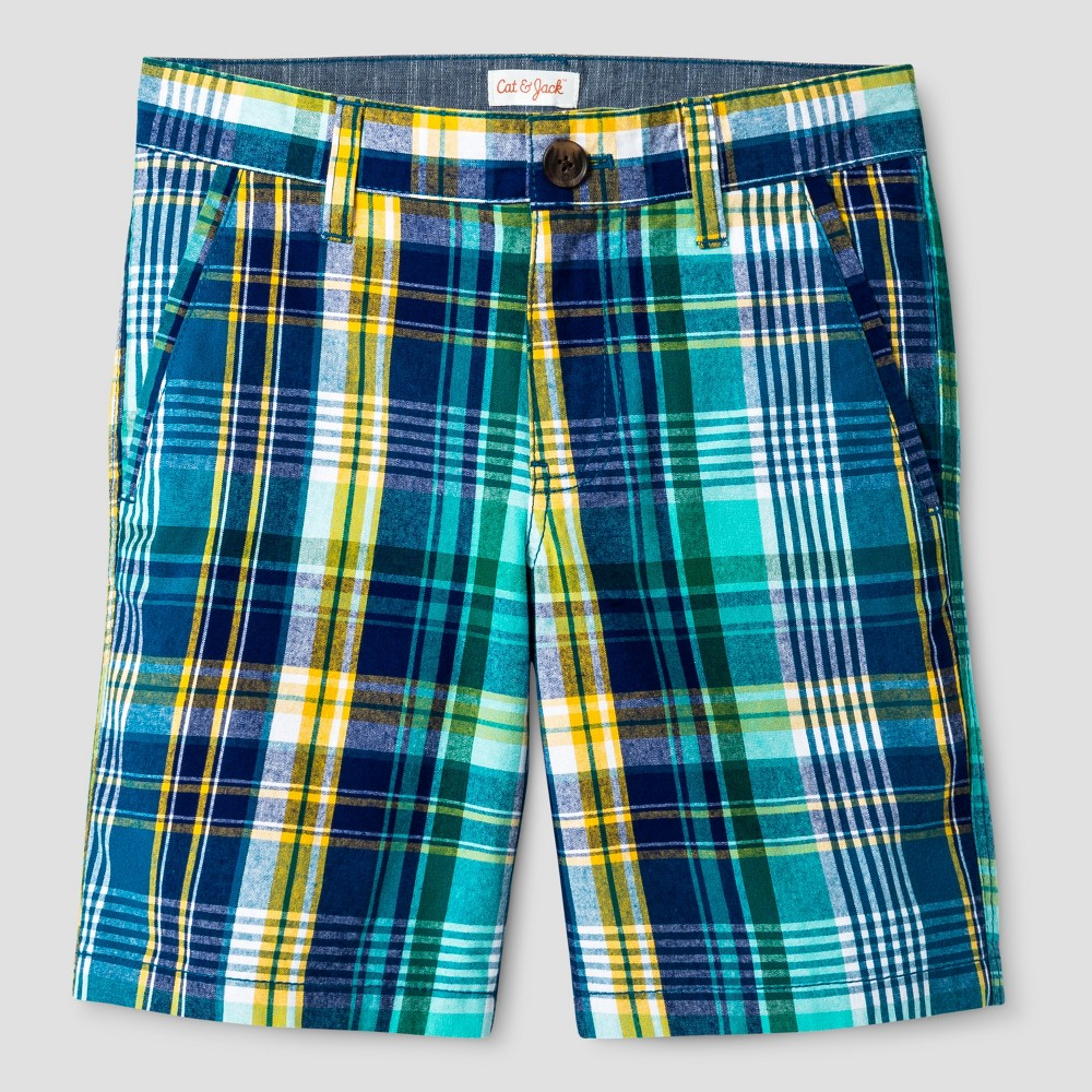 Boys Flat Front Chino Shorts - Cat & Jack Blue/Yellow Plaid 8 Husky