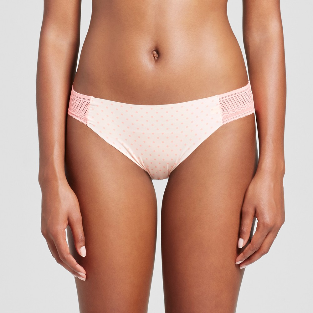 Womens Laser Cut Bikini - Peach Divine Dot M