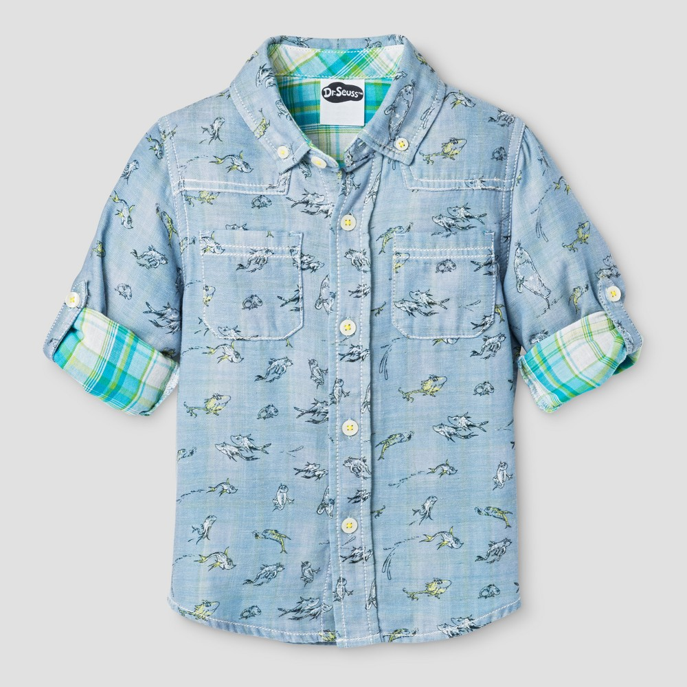 Baby Boys' Button Down Shirt Genuine Kids from OshKosh Brave Blue 12M, Infant Boy's, Size: 12 M
