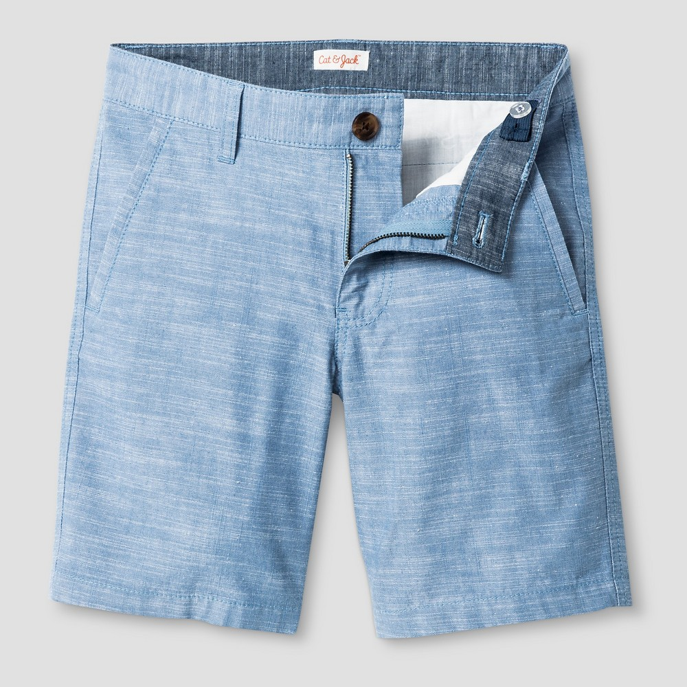 Boys Flat Front Chino Shorts - Cat & Jack Light Blue Chambray 12 Husky