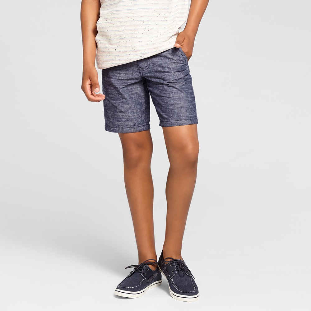 Boys Flat Front Chino Shorts - Cat & Jack Navy Chambray 12 Husky, Blue