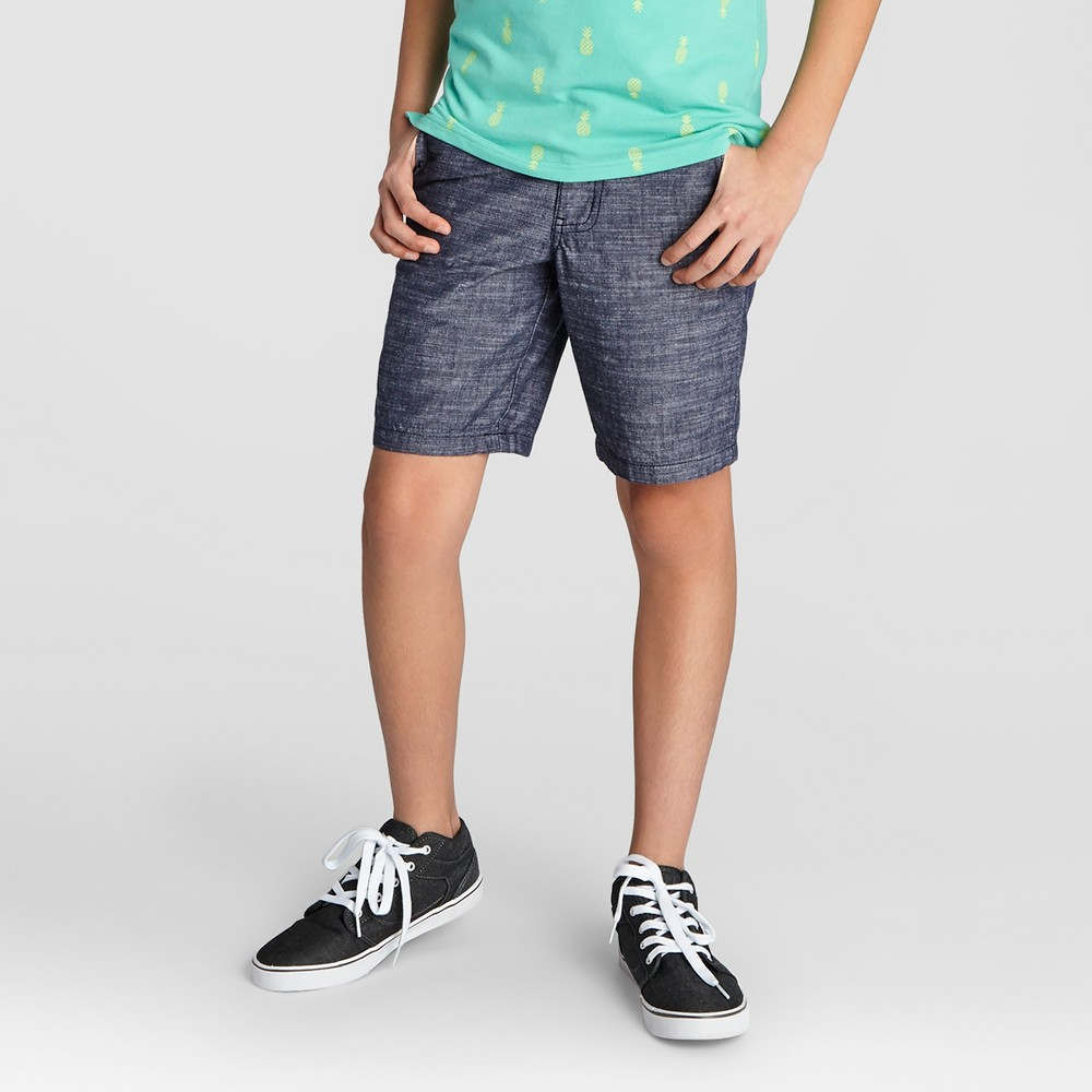 Boys Flat Front Chino Shorts - Cat & Jack Light Blue Chambray 14 Husky