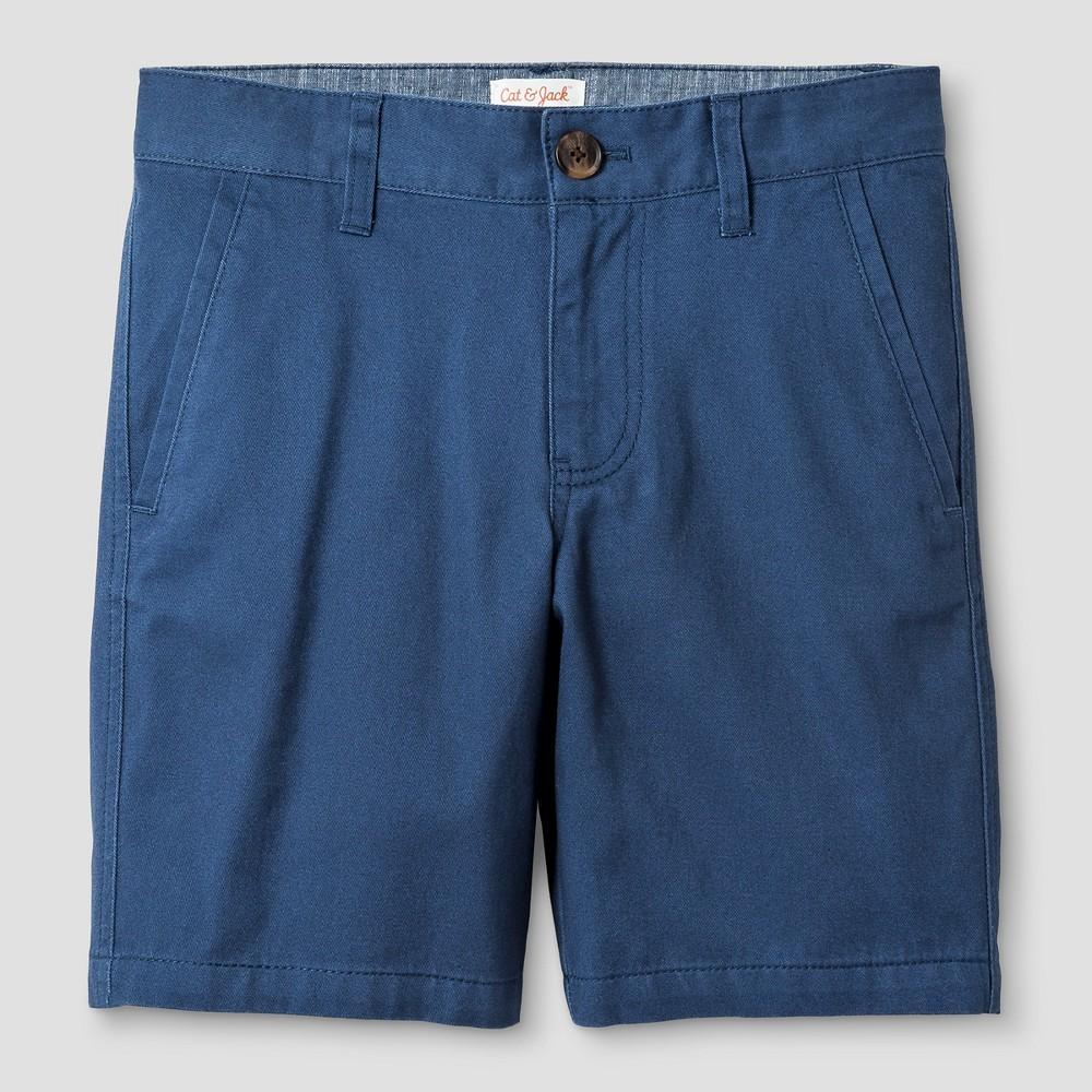Boys Flat Front Chino Shorts - Cat & Jack Insignia Blue 10 Husky