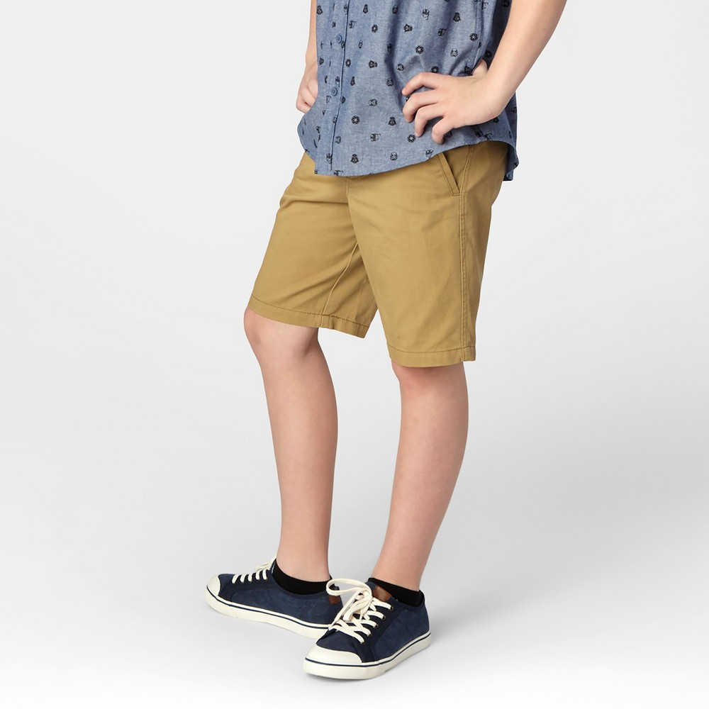 Boys Flat Front Chino Shorts - Cat & Jack Brown 18 Husky, Brown Paper