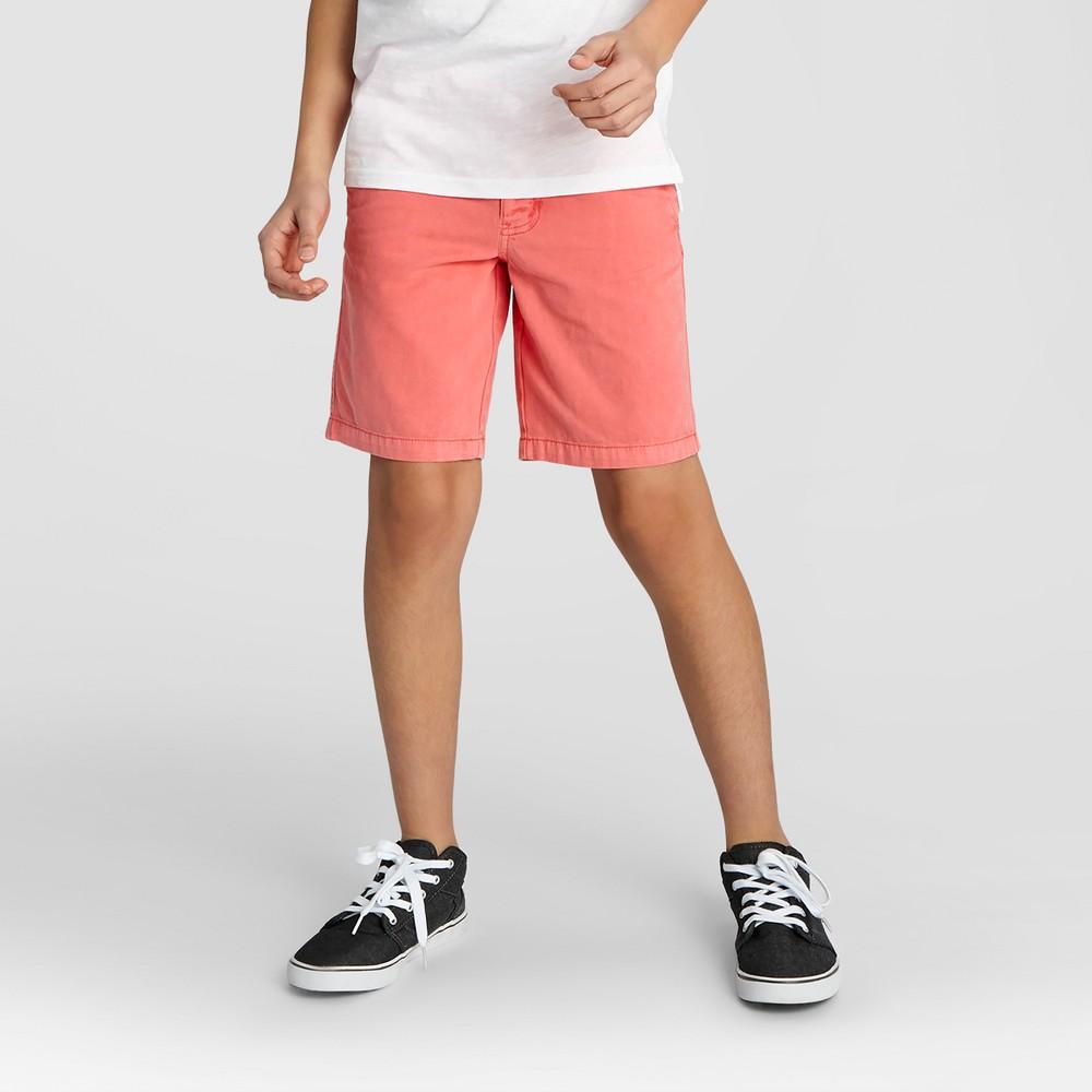 Boys Flat Front Chino Shorts - Cat & Jack Orange Spark 14 Husky