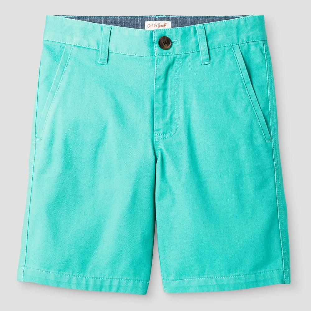 Boys Flat Front Chino Shorts - Cat & Jack Sea Green 12 Husky