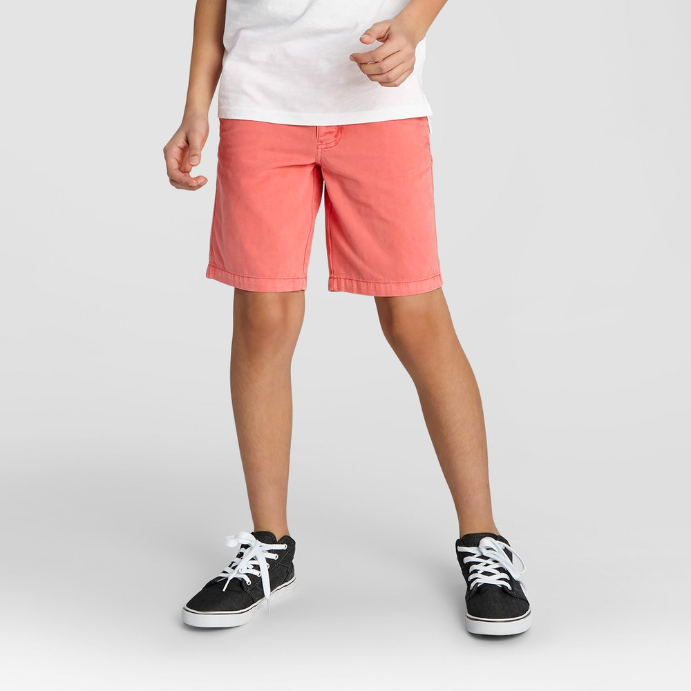 Boys Flat Front Chino Shorts - Cat & Jack Orange Spark 18 Husky