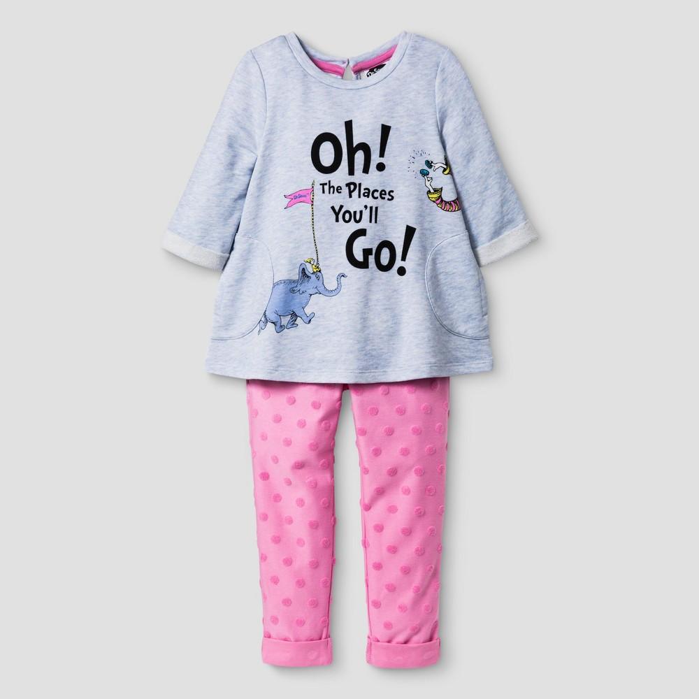 Toddler Girls' Dr. Seuss Top And Bottom Set from OshKosh Pink 3T, Toddler Girl's