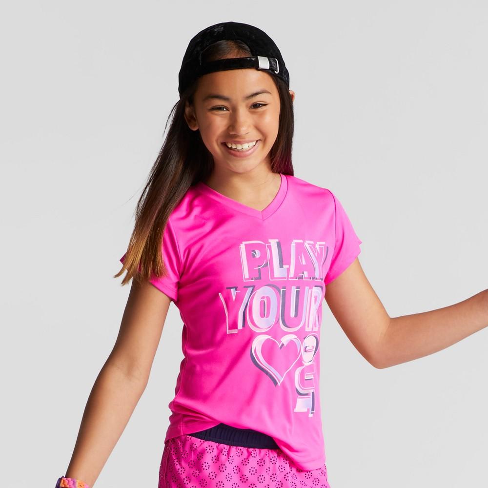 Girls Graphic Tech T-Shirt - C9 Champion Fuchsia XS, Pink