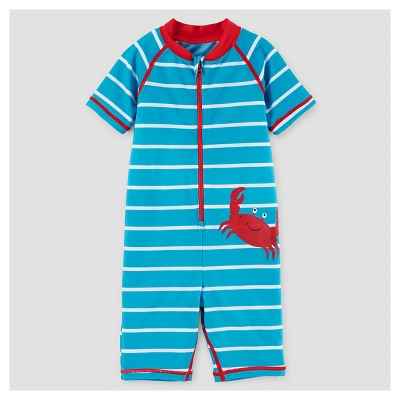 Baby Boys' One Piece Rash Guard Crab - Just One You™ Made by Carter's® Blue 12M