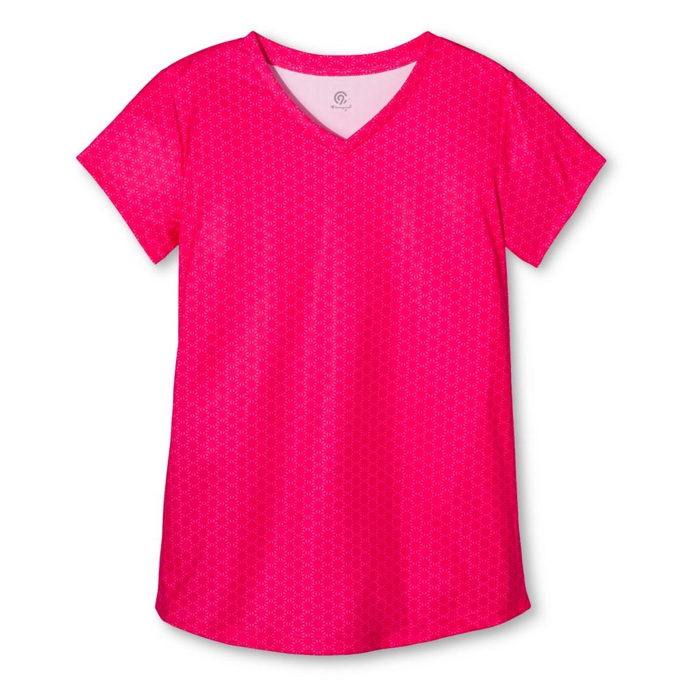 Girls Tech T-Shirt - C9 Champion Bright Coral Print XS, Pink