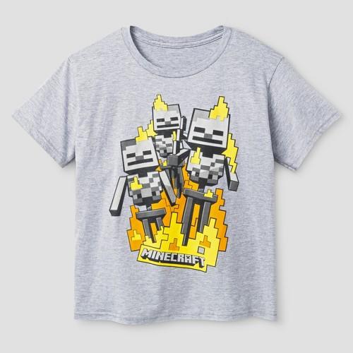 Boys' Minecraft Skeleton Crew Tee Shirt - Heather Grey XL, Boy's, Gray