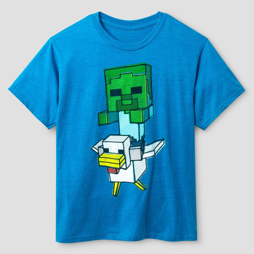 Boys' Minecraft Chicken Jockey Tee Shirt – Turquoise L, Boy's, Blue