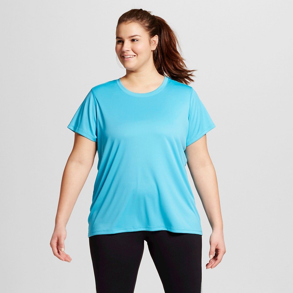 Womens Plus-Size Crew Neck Tech T-Shirt - C9 Champion Flying Turquoise 4X