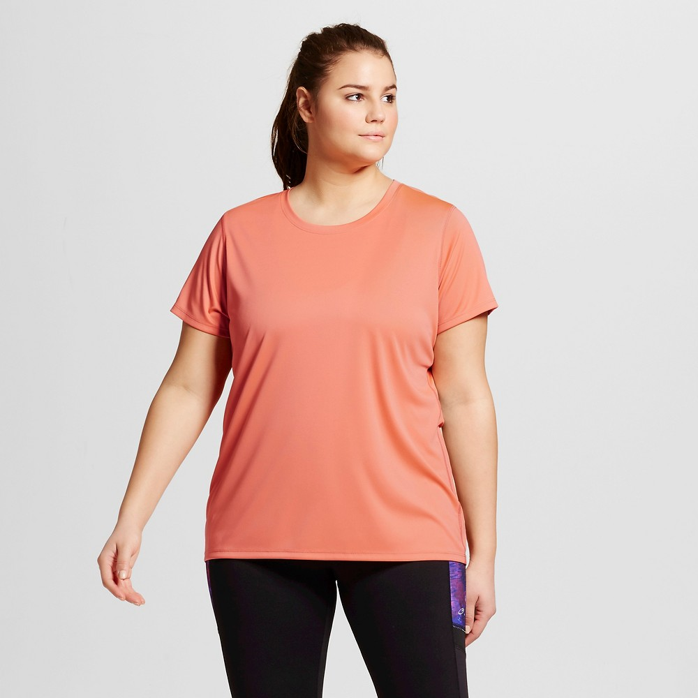 Womens Plus-Size Crew Neck Tech T-Shirt - C9 Champion Papaya (Orange) Red 2X