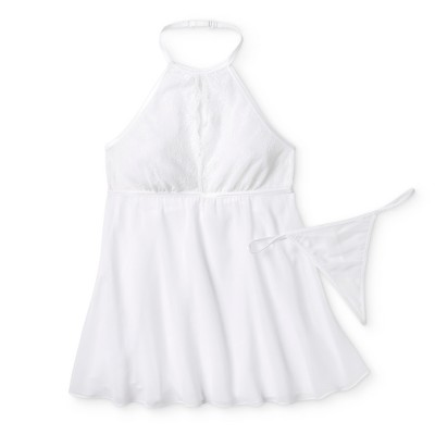 Women's High Neck Babydoll Lingerie - Gilligan & O'Malley™ - White M