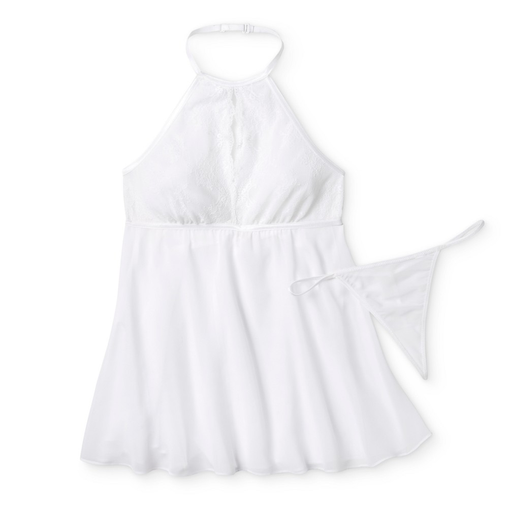 Womens High Neck Babydoll Lingerie - White L