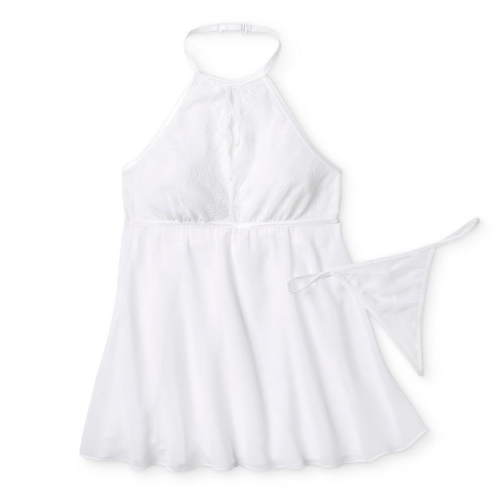 Womens High Neck Babydoll Lingerie - White S