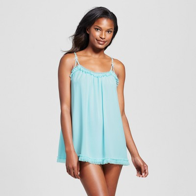 Women's Ruffle Babydoll Lingerie - Gilligan & O'Malley™ - Turquoise Feather M