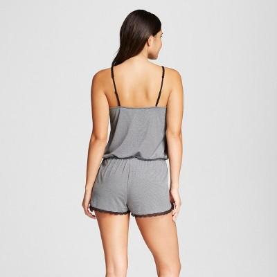 Women's Sleep Romper Black Stripe XS - Xhilaration