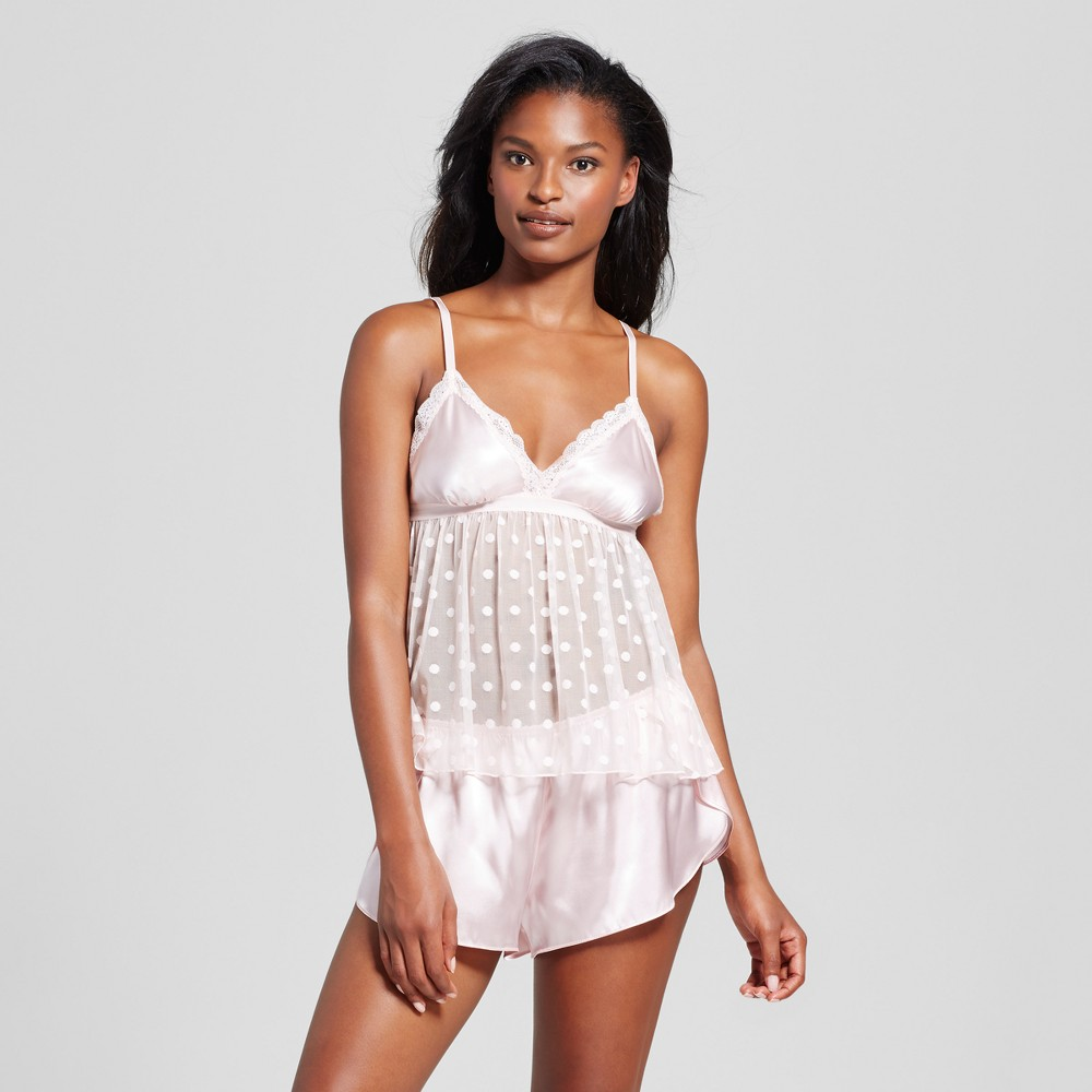 Womens Dot Mesh Shorts Set - Crystal Pink XS
