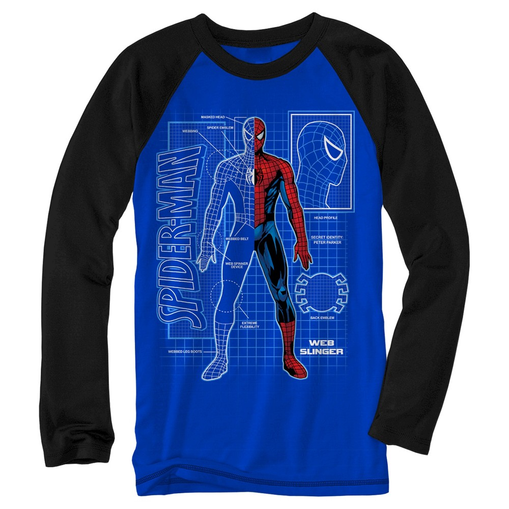 Boys' Marvel Spider-Man Long Sleeve T-Shirt - Royal Blue L