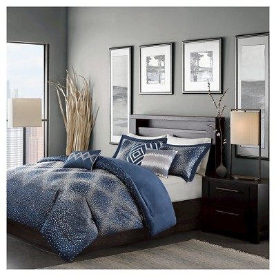 Garner Dotted Duvet Cover Set (King/California King)Navy - 6pc