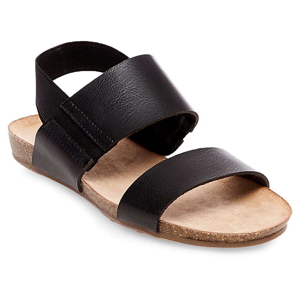 Womens Wide Width Makenna Quarter Strap Sandals - Merona Black 7W, Size: 7 Wide
