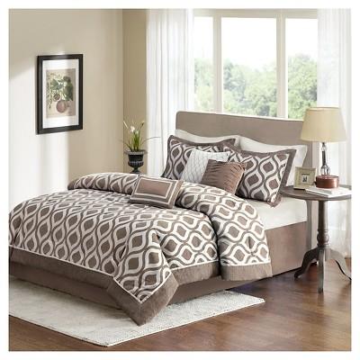 Mestre Trellis Print Comforter Set (King)Taupe - 7pc