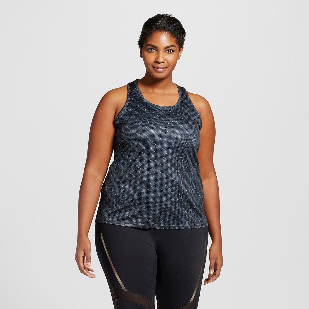 Womens Plus-Size Run Singlet Tonal Diagonal Dot Print - C9 Champion Gray 3X, Neutral