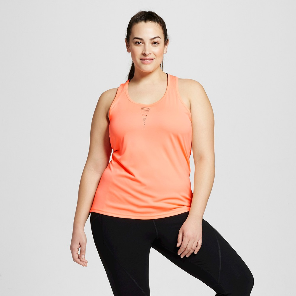 Womens Plus-Size Run Singlet - C9 Champion Deep Sea Coral 4X