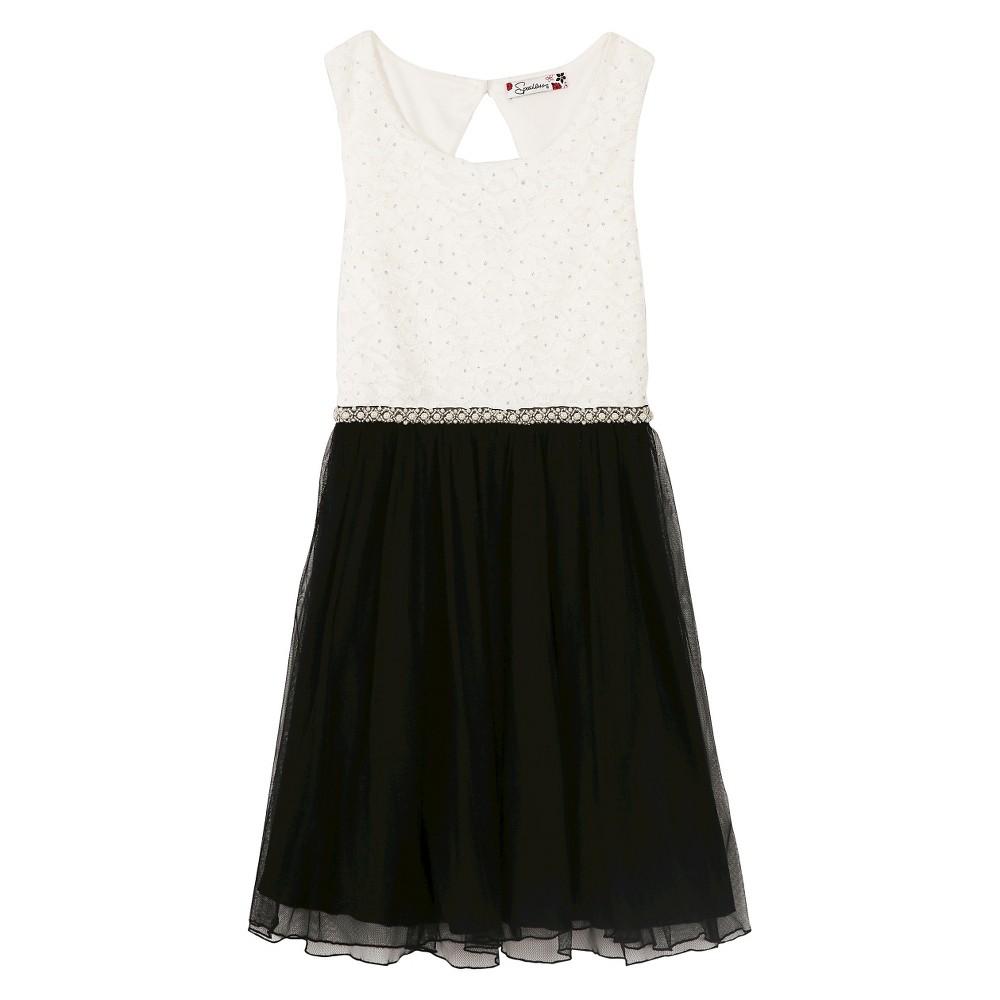 A Line Dresses White Black Lots of Love 14, Girl's, Black White