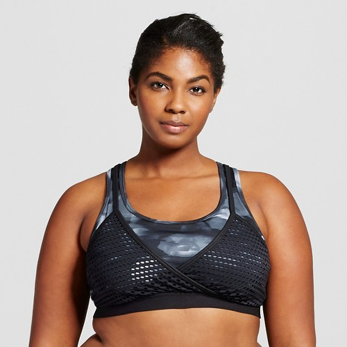 Women's Plus-Size Strappy Back Sports Bra - Gray Camouflage 2X - Anna Kaiser for C9 Champion