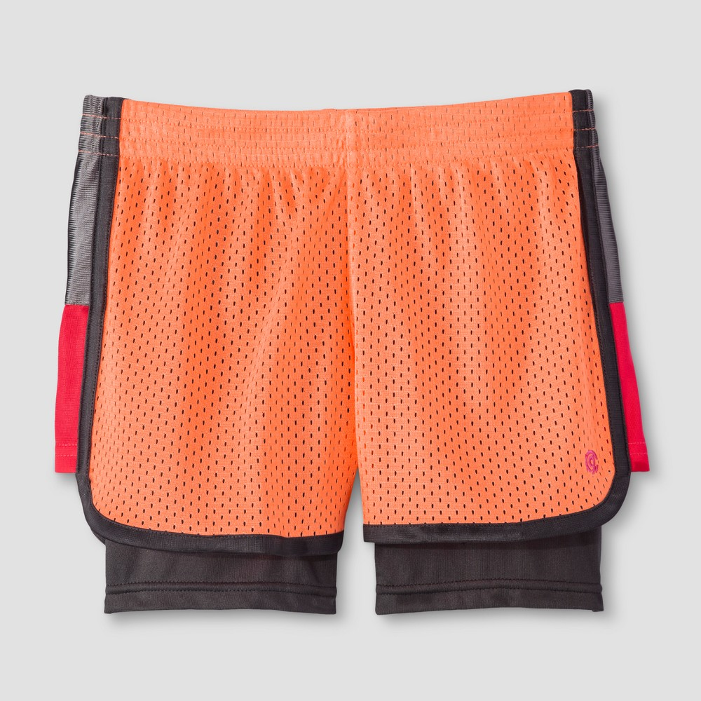 Girls 2-in-1 Mesh Shorts - C9 Champion Coral (Pink) S