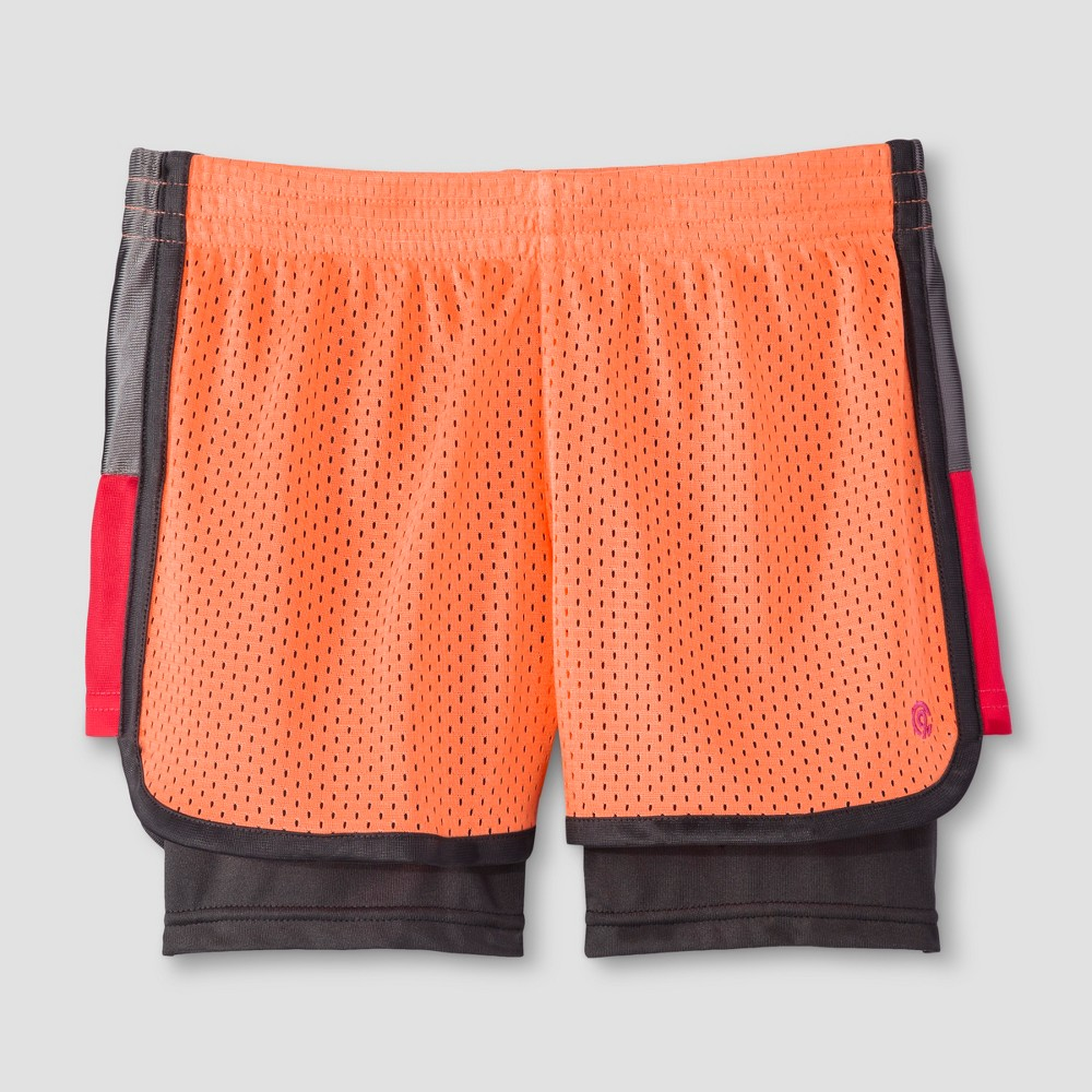 Girls 2-in-1 Mesh Shorts - C9 Champion Coral (Pink) M