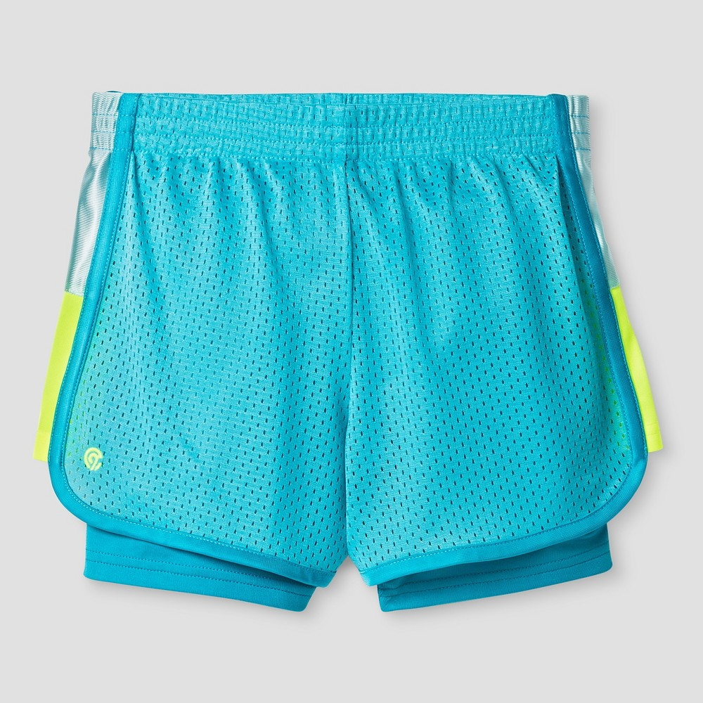 Girls 2-in-1 Mesh Shorts - C9 Champion Turquoise XL